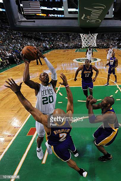 Ray Allen of the Boston Celtics drives for a shot attempt against Derek Fisher and Kobe Bryant of the Los Angeles Lakers in Game Three of the 2010...
