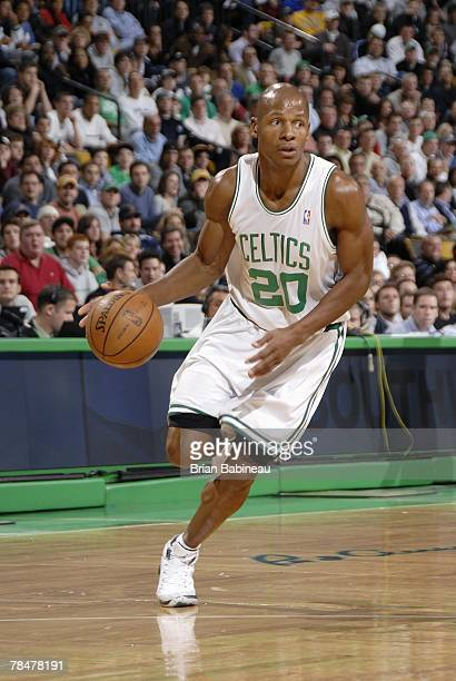 Ray Allen of the Boston Celtics drives to the basket during the game against the Miami Heat at the TD Banknorth Garden on November 16 2007 in Boston...