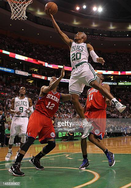 Ray Allen of the Boston Celtics drives to the basket for a layup in front of Evan Turner of the Philadelphia 76ers during Game Seven of the Eastern...