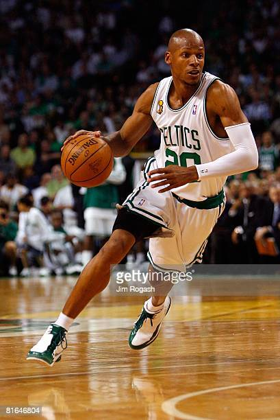 Ray Allen of the Boston Celtics drives to the basket in Game Six of the 2008 NBA Finals against the Los Angeles Lakers on June 17 2008 at TD...