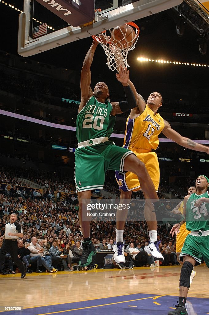 Ray Allen #20 of the Boston Celtics dunks against Shannon Brown #12 of the Los Angeles Lakers during the game at Staples Center on February 18, 2010 in Los Angeles, California. The Lakers won 87-86.