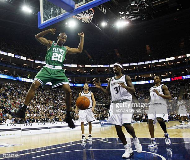 Ray Allen of The Boston Celtics dunks the ball during the game against The Minnesota Timberwolves during NBA Europe Live 2007 tour at The O2 Arena in...