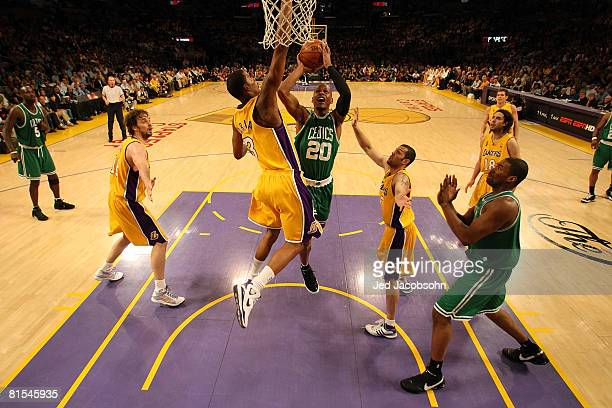 Ray Allen of the Boston Celtics goes up for a shot over Trevor Ariza of the Los Angeles Lakers in Game Four of the 2008 NBA Finals on June 12 2008 at...