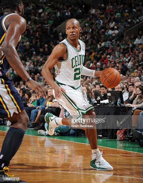 Ray Allen of the Boston Celtics handles the ball during a game against the Utah Jazz on January 21 2011 at the TD Garden in Boston Massachusetts NOTE...
