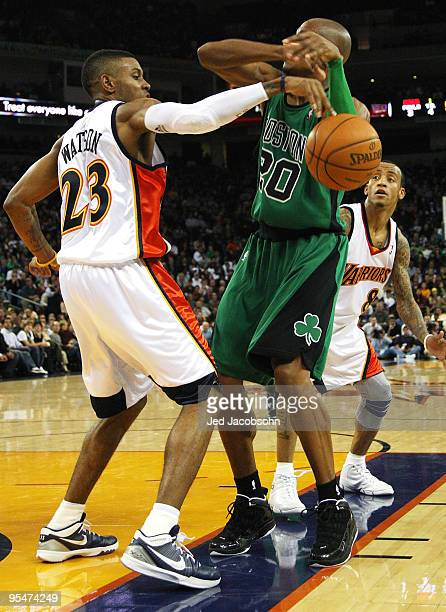 Ray Allen of the Boston Celtics has the ball stolen by CJ Watson of the Golden State Warriors during an NBA game at Oracle Arena on December 28 2009...