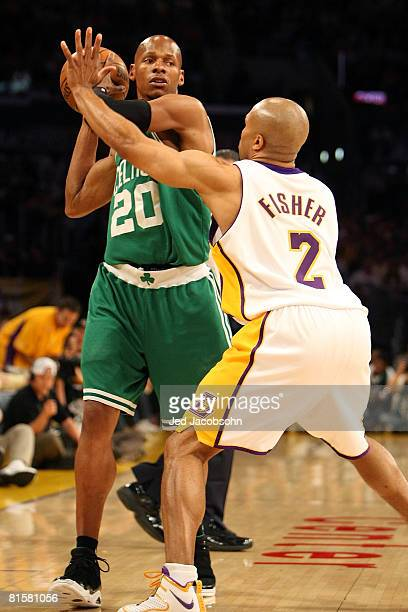 Ray Allen of the Boston Celtics looks for an open pass over Derek Fisher of the Los Angeles Lakers in Game Five of the 2008 NBA Finals on June 15...