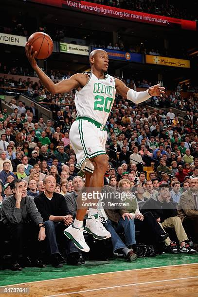Ray Allen of the Boston Celtics looks to pass during the game against the Los Angeles Lakers on February 5 2009 at TD Banknorth Garden in Boston...