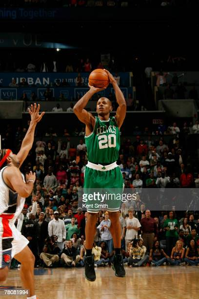 Ray Allen of the Boston Celtics makes the game winning 3pointer against the Charlotte Bobcats at the Charlotte Bobcats Arena November 24 2007 in...