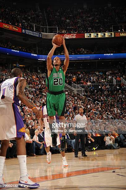 Ray Allen of the Boston Celtics puts a shot up against the Phoenix Suns in an NBA game played at U.S. Airways Center on February 22, 2008 in Phoenix,...