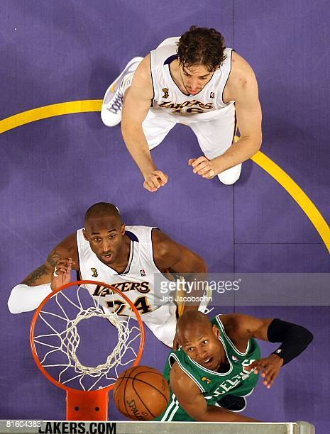 Ray Allen of the Boston Celtics puts a shot up over Kobe Bryant and Pau Gasol of the Los Angeles Lakers in Game Five of the 2008 NBA Finals on June...