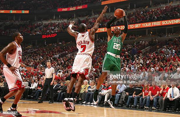 Ray Allen of the Boston Celtics puts up a shot over Ben Gordon and Tyrus Thomas of the Chicago Bulls during Game Six of the Eastern Conference...