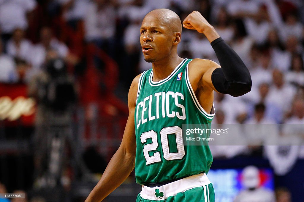 Ray Allen #20 of the Boston Celtics reacts in the fourth quarter against the Miami Heat in Game Five of the Eastern Conference Finals in the 2012 NBA Playoffs on June 5, 2012 at American Airlines Arena in Miami, Florida.