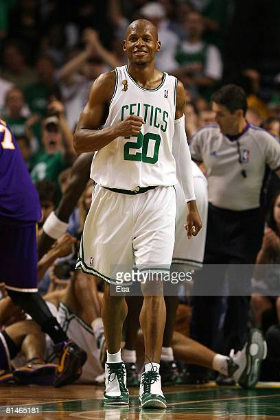 Ray Allen of the Boston Celtics reacts in the third quarter of Game One of the 2008 NBA Finals against the Los Angeles Lakers on June 5 2008 at TD...