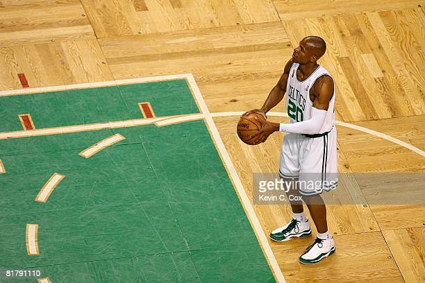 Ray Allen of the Boston Celtics shoots a free throw while taking on the Los Angeles Lakers in Game Six of the 2008 NBA Finals on June 17 2008 at TD...