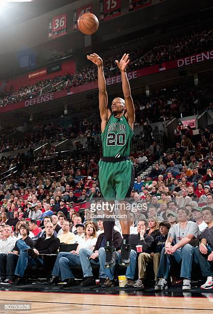 Ray Allen of the Boston Celtics shoots a jump shot during the game against the Portland Trail Blazers at The Rose Garden on February 24 2008 in...