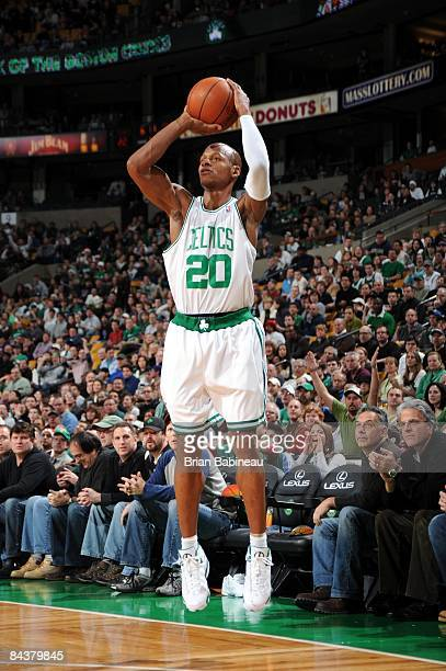 Ray Allen of the Boston Celtics shoots a jump shot during the game against the New York Knicks at The TD Banknorth Garden on December 21 2008 in...