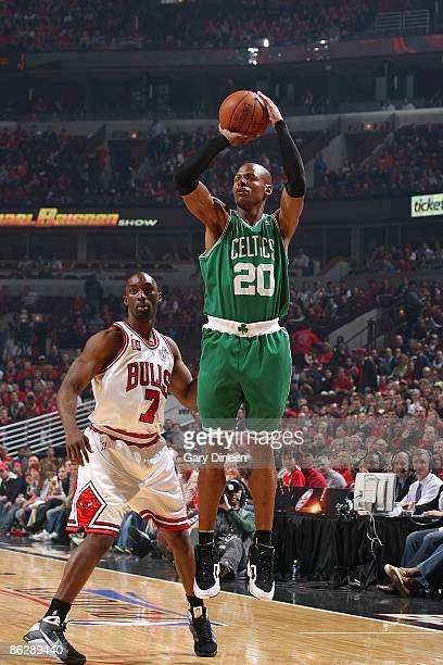 Ray Allen of the Boston Celtics shoots a jumper against Ben Gordon of the Chicago Bulls in Game Four of the Eastern Conference Quarterfinals during...