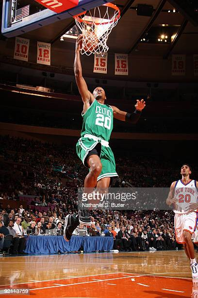 Ray Allen of the Boston Celtics shoots against Jared Jeffries of the New York Knicks on October 20 2009 at Madison Square Garden in New York City...