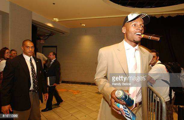 Ray Allen of the Boston Celtics smokes a cigar while he leaves following Game Six of the 2008 NBA Finals on June 17 2008 at the TD Banknorth Garden...