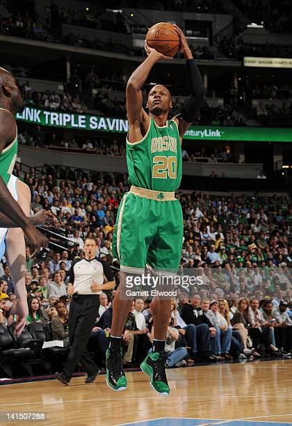 Ray Allen of the Boston Celtics takes a shot against the Denver Nuggets on March 17 2012 at the Pepsi Center in Denver Colorado NOTE TO USER User...
