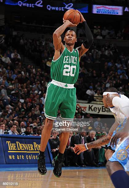 Ray Allen of the Boston Celtics takes a shot against the Denver Nuggets on February 23 2009 at the Pepsi Center in Denver Colorado NOTE TO USER User...