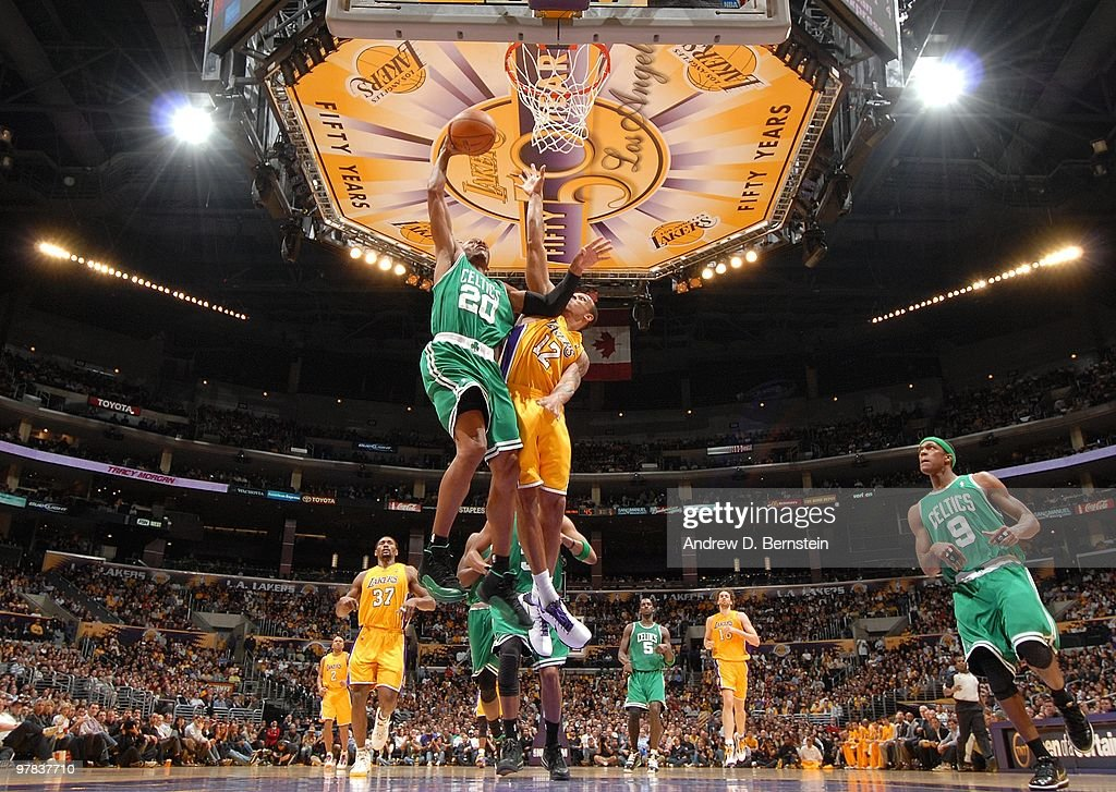 Ray Allen #20 of the Boston Celtics takes the ball to the basket against Shannon Brown #12 of the Los Angeles Lakers during the game at Staples Center on February 18, 2010 in Los Angeles, California. The Lakers won 87-86.