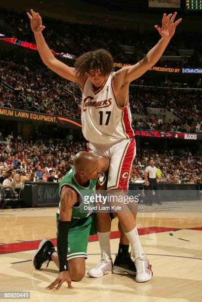 Ray Allen of the Boston Celtics throws an elbow at Anderson Varejao of the Cleveland Cavaliers during a play in which both were given technical fouls...