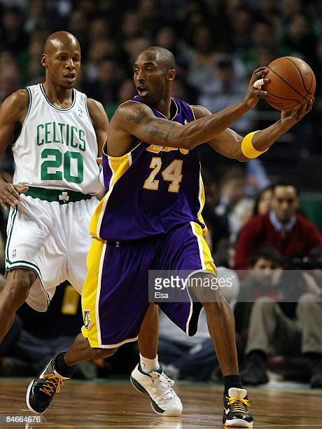 Ray Allen of the Boston Celtics tries to keep Kobe Bryan of Los Angeles Lakers from heading to the net on February 5 2009 at TD Banknorth Garden in...