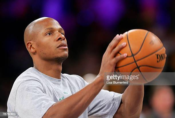 Ray Allen of the Boston Celtics warms up before the game against the Los Angeles Lakers at Staples Center on December 30 2007 in Los Angeles...