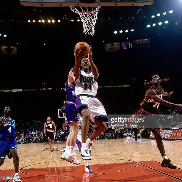 Ray Allen of the Eastern Conference AllStars attempts a layup against the Western Conference AllStars during the 2000 NBA AllStar Game played at The...