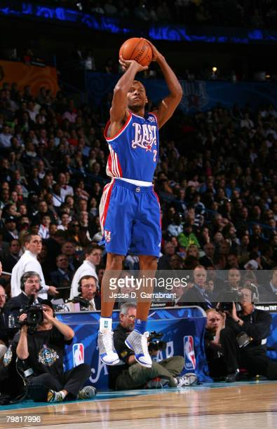Ray Allen of the Eastern Conference attempts a shot during the 2008 NBA AllStar Game part of 2008 NBA AllStar Weekend at the New Orleans Arena on...