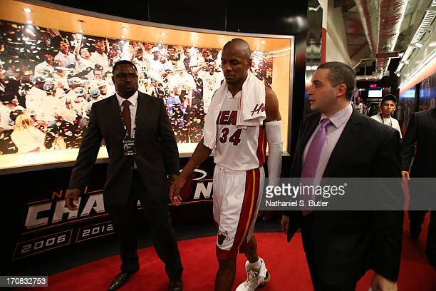 Ray Allen of the Miami Heat after playing against the San Antonio Spurs in Game Six of the 2013 NBA Finals on June 18 2013 at American Airlines Arena...