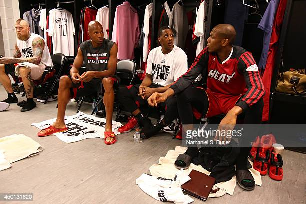 Ray Allen of the Miami Heat and team mates chat in the locker room before Game One of the 2014 NBA Finals at ATT Center on June 5 2014 in San Antonio...