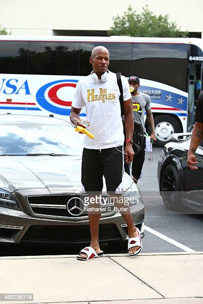 Ray Allen of the Miami Heat arrives for practice and media availability as part of the 2014 NBA Finals on June 7 2014 at the Spurs Practice Facility...