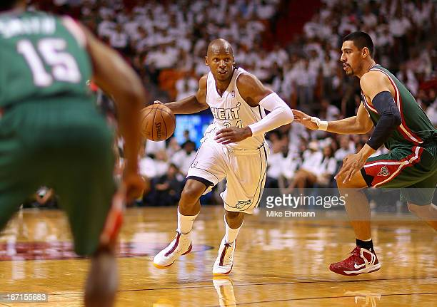 Ray Allen of the Miami Heat dribbles during Game 1 of the Eastern Conference Quarterfinals of the 2013 NBA Playoffs at against the Milwaukee Bucks...