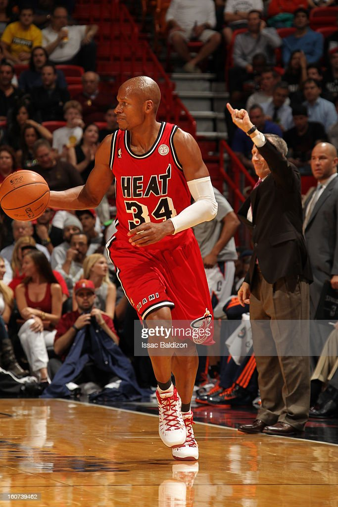 Ray Allen #34 of the Miami Heat dribbles the ball up the floor against the Charlotte Bobcats during a game on February 4, 2013 at American Airlines Arena in Miami, Florida.