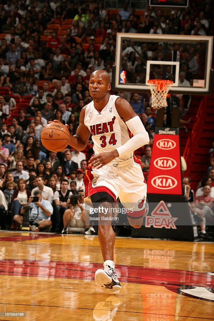 Ray Allen #34 of the Miami Heat dribbles the ball upcourt against the Phoenix Suns during a game on November 5, 2012 at American Airlines Arena in Miami, Florida.