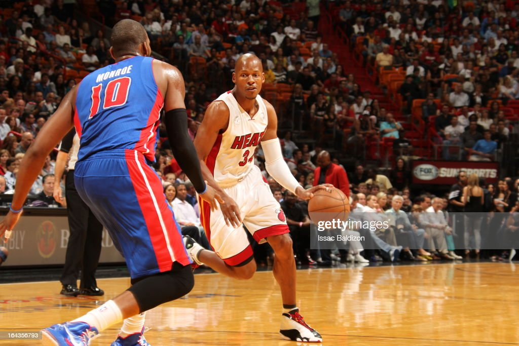 Ray Allen #34 of the Miami Heat drives against Greg Monroe #10 of the Detroit Pistons on March 22, 2013 at American Airlines Arena in Miami, Florida.