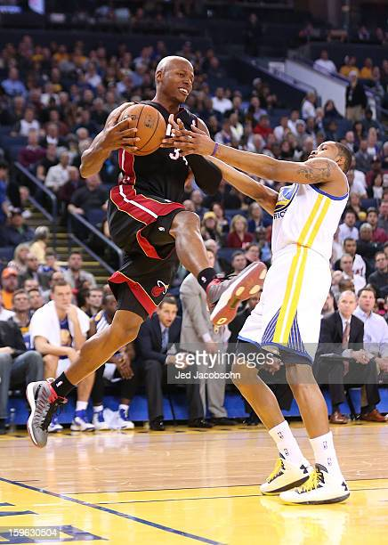 Ray Allen of the Miami Heat in action against the Golden State Warriors on January 16 2013 at Oracle Arena in Oakland California NOTE TO USER User...