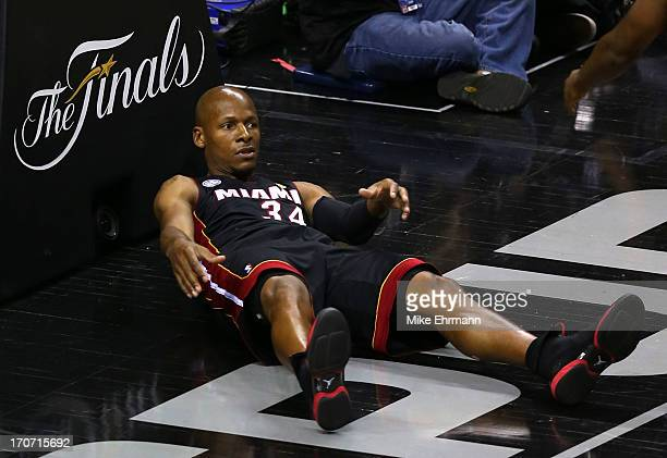 Ray Allen of the Miami Heat lays against the basket in the second quarter against the San Antonio Spurs during Game Five of the 2013 NBA Finals at...
