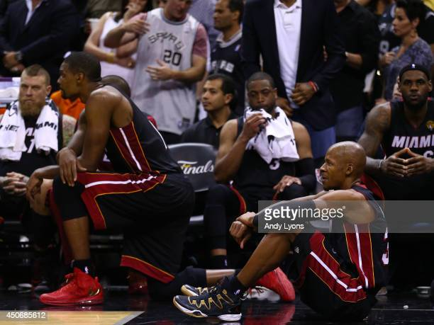 Ray Allen of the Miami Heat looks on from the bench against the San Antonio Spurs during Game Five of the 2014 NBA Finals at the ATT Center on June...