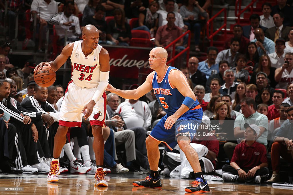 Ray Allen #34 of the Miami Heat looks to drive to the basket against the New York Knicks on April 2, 2013 at American Airlines Arena in Miami, Florida.