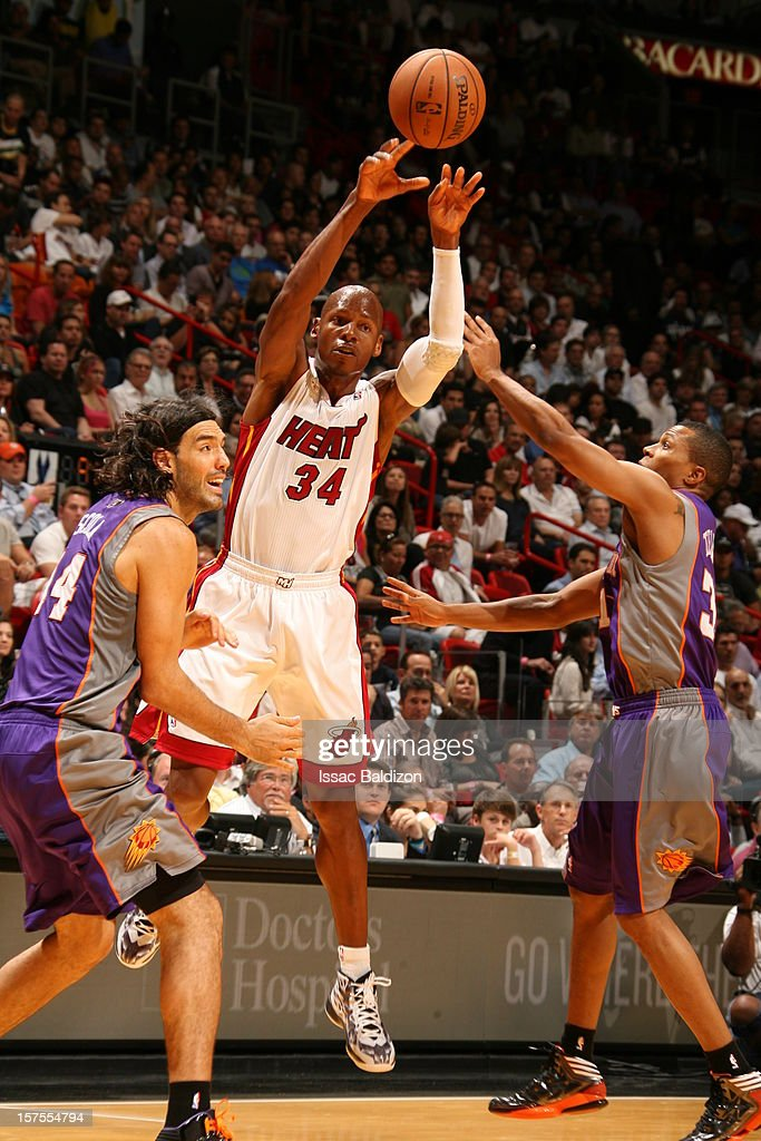 Ray Allen #34 of the Miami Heat passes the ball against the Phoenix Suns during a game on November 5, 2012 at American Airlines Arena in Miami, Florida.