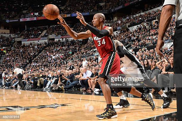 Ray Allen of the Miami Heat passes the basketball during Game One of the 2014 NBA Finals between the Miami Heat and San Antonio Spurs at ATT Center...