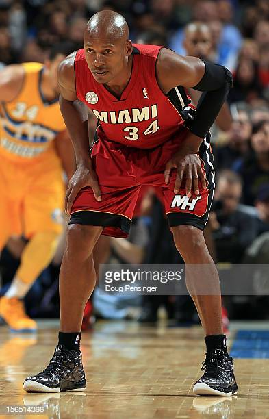 Ray Allen of the Miami Heat plays defense against the Denver Nuggets at the Pepsi Center on November 15 2012 in Denver Colorado The Heat defeated the...