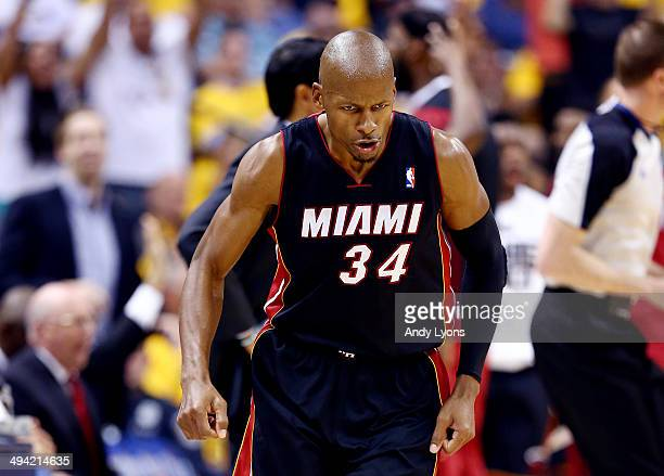 Ray Allen of the Miami Heat reacts after making a three pointer against the Indiana Pacers during Game Five of the Eastern Conference Finals of the...