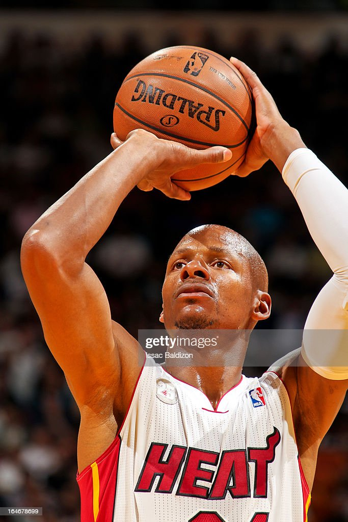 Ray Allen #34 of the Miami Heat shoots a free-throw against the Atlanta Hawks on March 12, 2013 at American Airlines Arena in Miami, Florida.