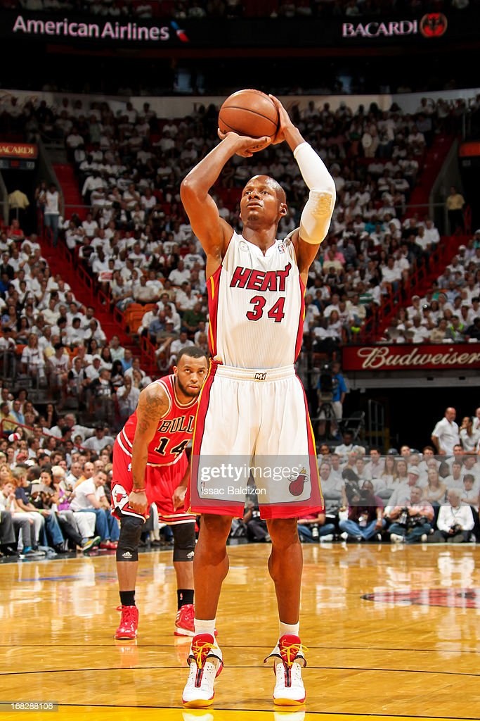 Ray Allen #34 of the Miami Heat shoots a free-throw against the Chicago Bulls in Game One of the Eastern Conference Semifinals during the 2013 NBA Playoffs on May 6, 2013 at American Airlines Arena in Miami, Florida.