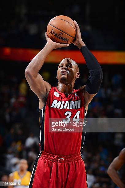 Ray Allen of the Miami Heat shoots a freethrow against the Denver Nuggets on November 15 2012 at the Pepsi Center in Denver Colorado NOTE TO USER...