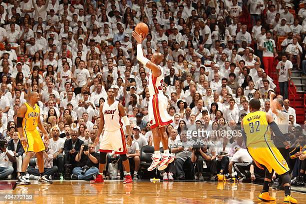 Ray Allen of the Miami Heat shoots against the Indiana Pacers in Game Six of the Eastern Conference Finals during the 2014 NBA Playoffs on May 30...